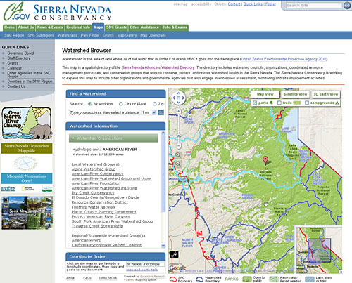 Sierra Nevada Conservancy Watershed Maps